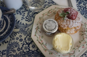 Scones, clotted cream and jam served in a typical English Tea House. Cream tea in Bath.